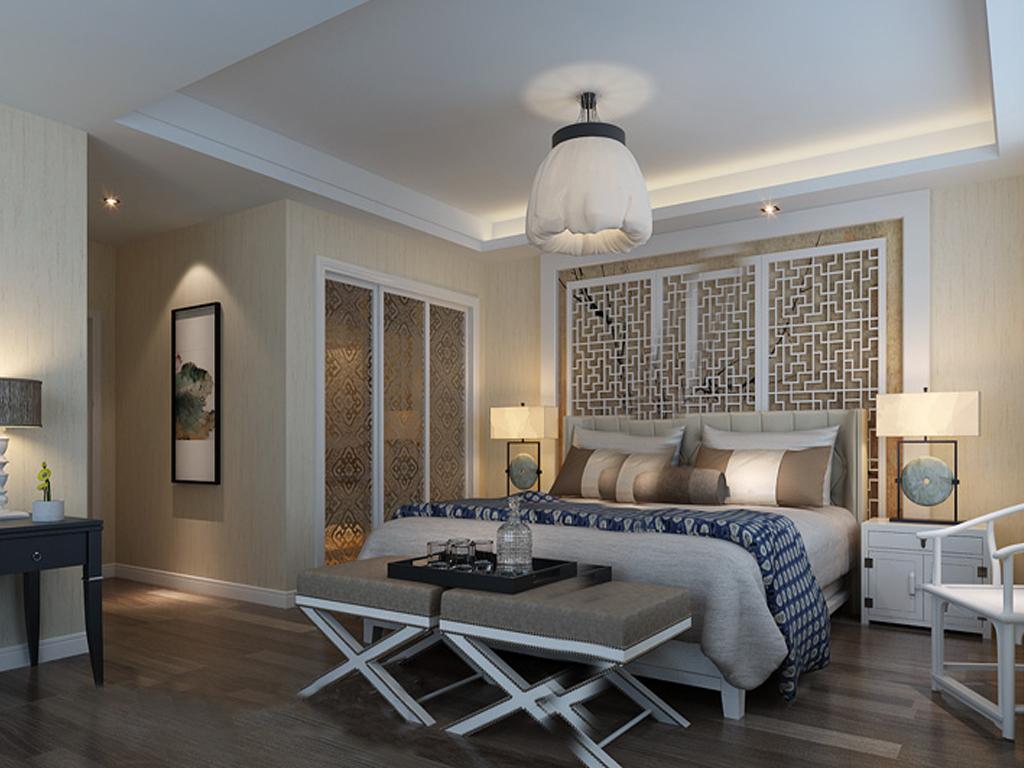 卧室背景墙木格装饰设计效果图