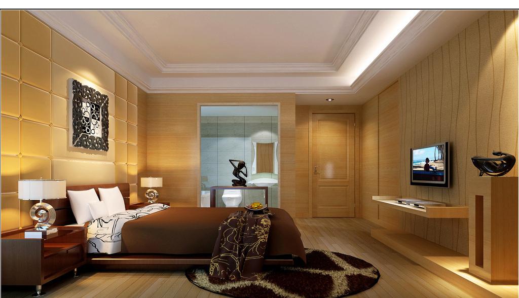 三居室 130平米 卧室装修效果图 龙湾情怀 欧美风情 三居