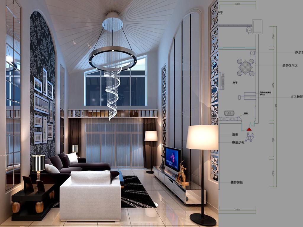 效果 客厅 ,家装效果图,装修效果图,室内设计效果图,交换空间效