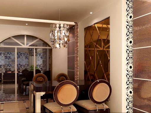 屏风、隔断、背景墙:餐厅背景墙
