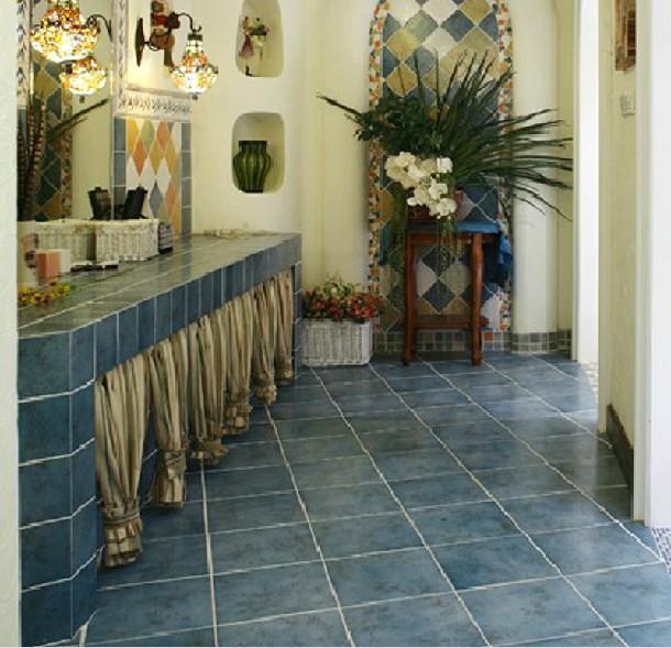 地中海风格蓝色砖仿古防滑厨房卫生间瓷砖阳台地砖
