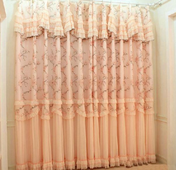 婚房蕾丝窗帘田园卧室窗帘成品帘红色粉色纯色客厅