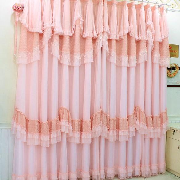 蕾丝窗帘 成品红色纯色客厅韩式公主