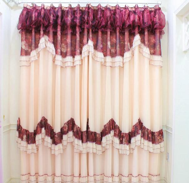 蕾丝客厅高档卧室婚房韩式印花欧式红色进口纱帘